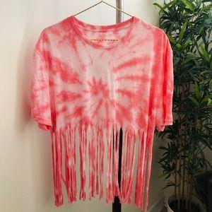 Custom tie dye fringe top Pink spiral M/L